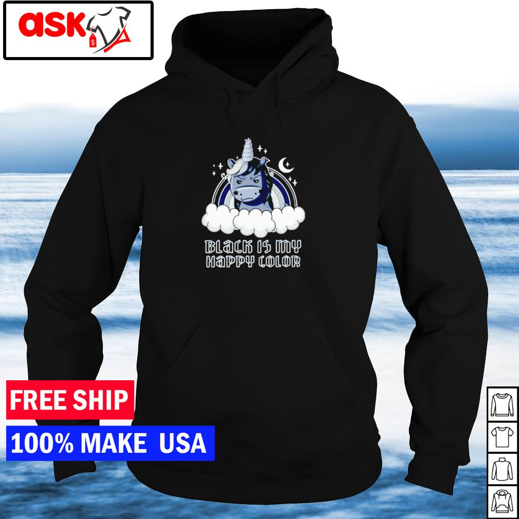 Black unicorn black is my happy color s hoodie
