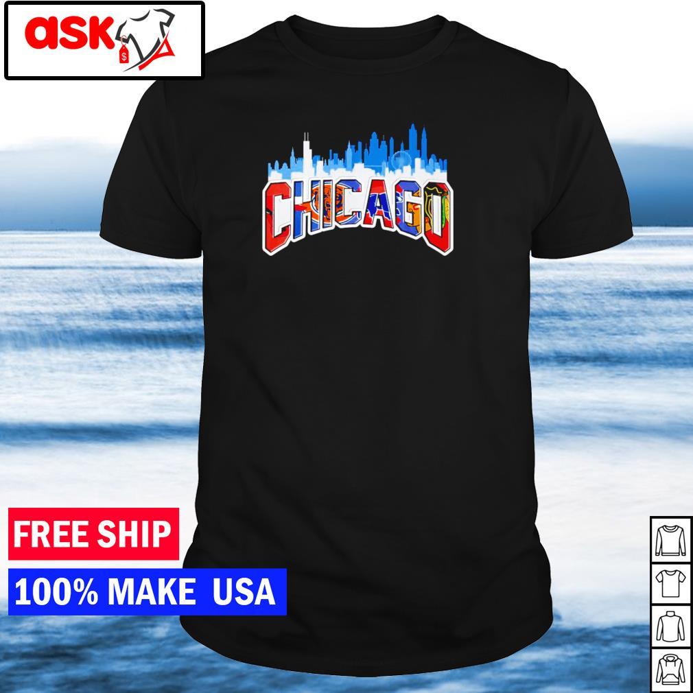 Chicago city skyline Cubs Blackhawks Bulls sports teams shirt