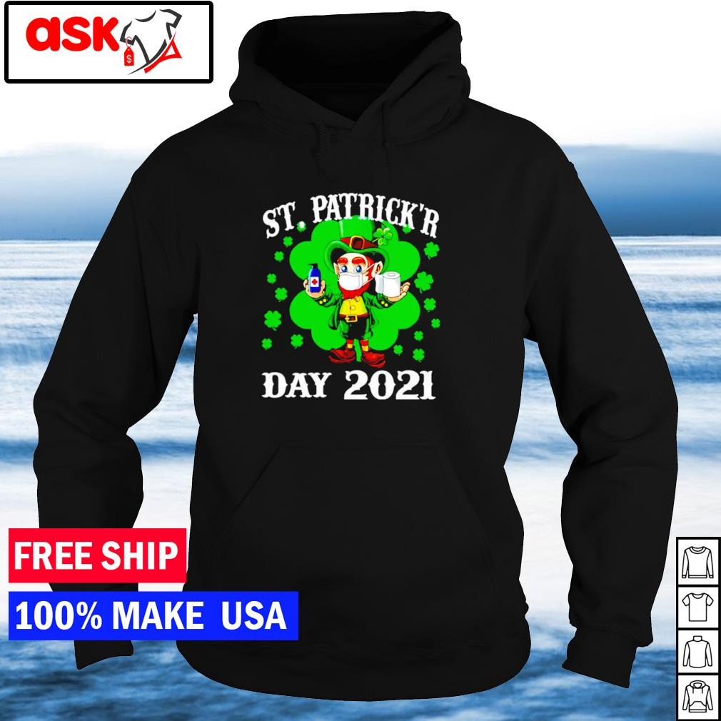 Leprechaun wearing mask happy St Patrick's Day 2021 s hoodie