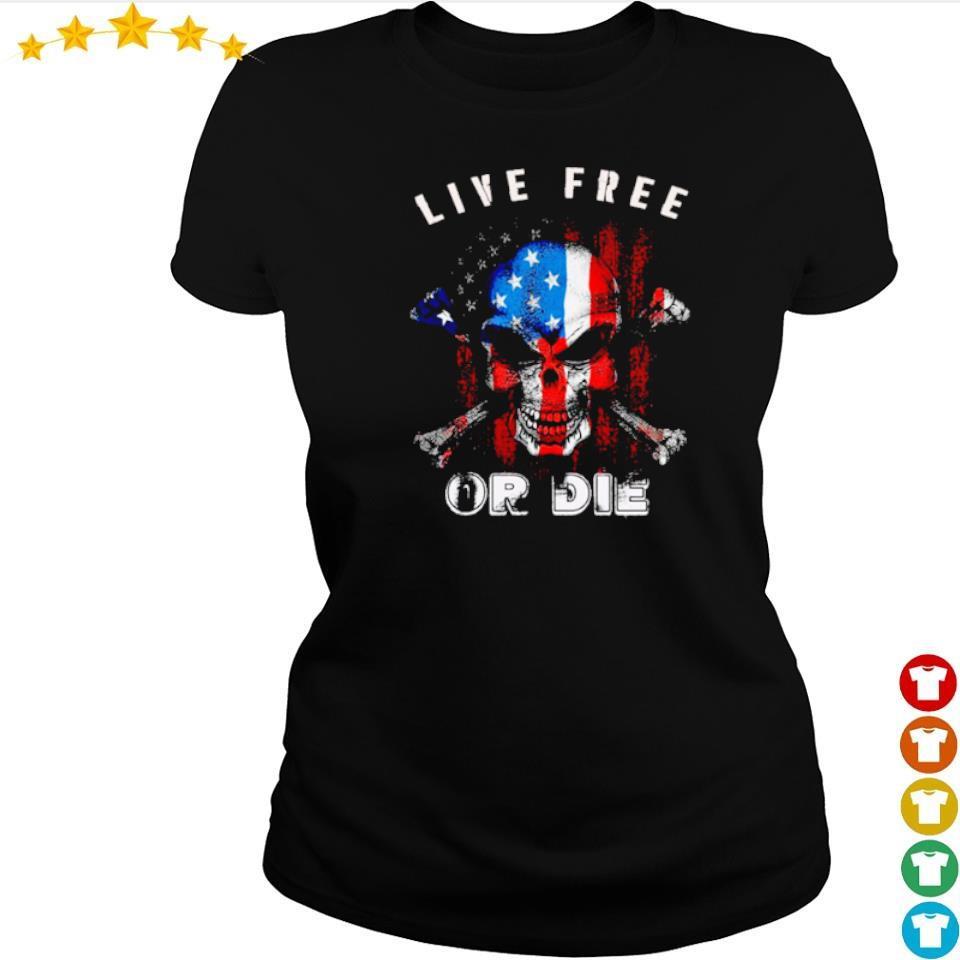 American Flag skull live free or die s 1