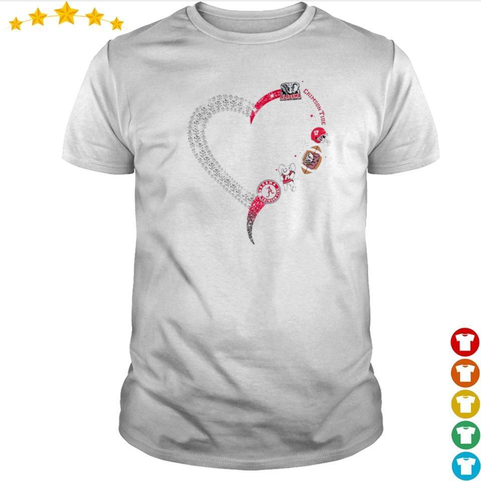 Alabama Crimson Tide diamonds heart shirt