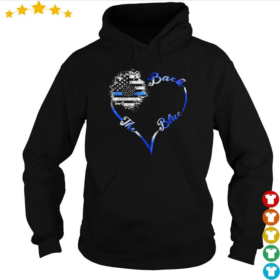 America Flag heart back the blue s hoodie
