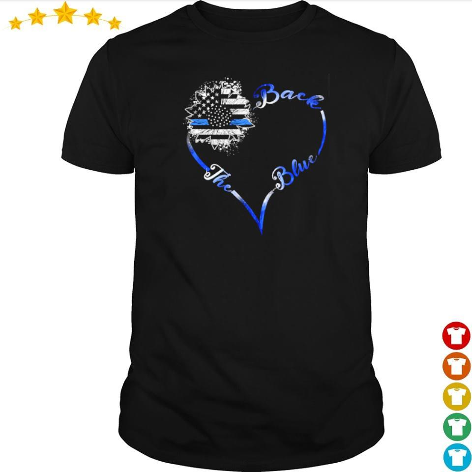 America Flag heart back the blue shirt