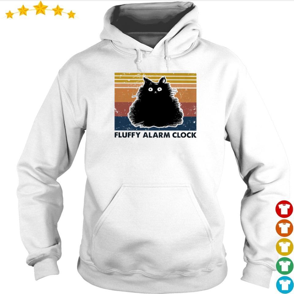 Black cat fluffy alarm clock vintage s hoodie