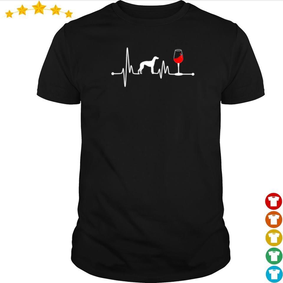 Heartbeat Ekg Pulse Greyhound And Wine shirt
