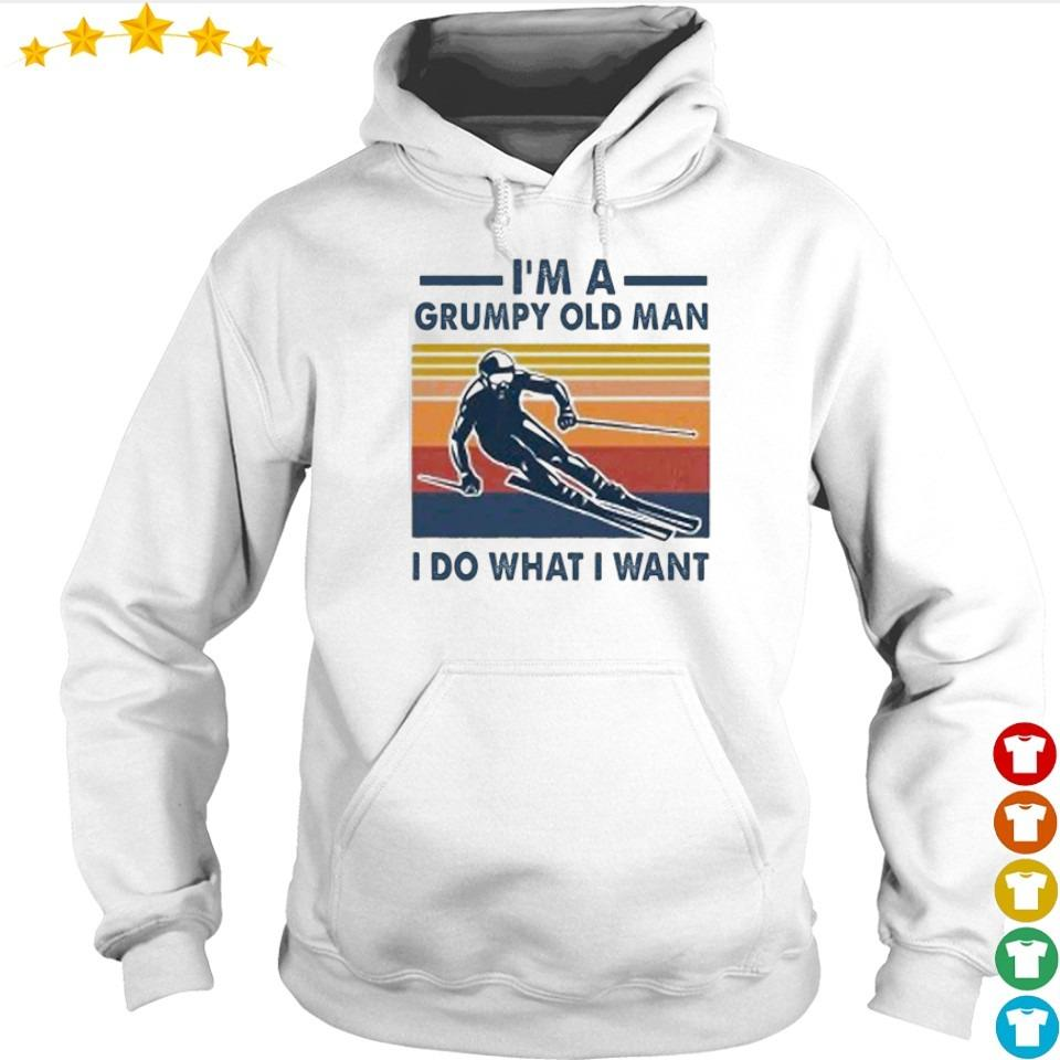 Skiing I'm a grumpy old man I do what I want vintage retro s hoodie