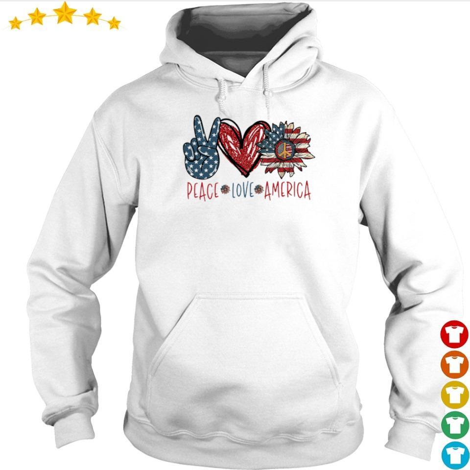 Peace love America Flag Sunflower s hoodie