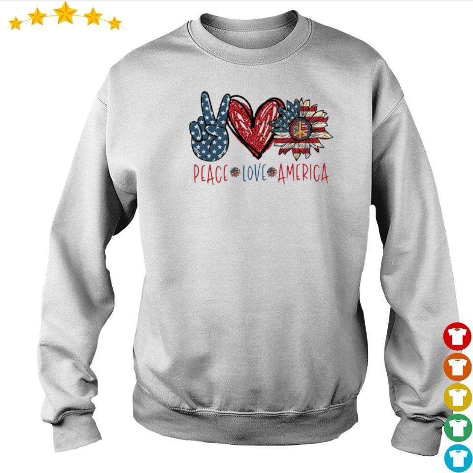 Peace love America Flag Sunflower s sweater