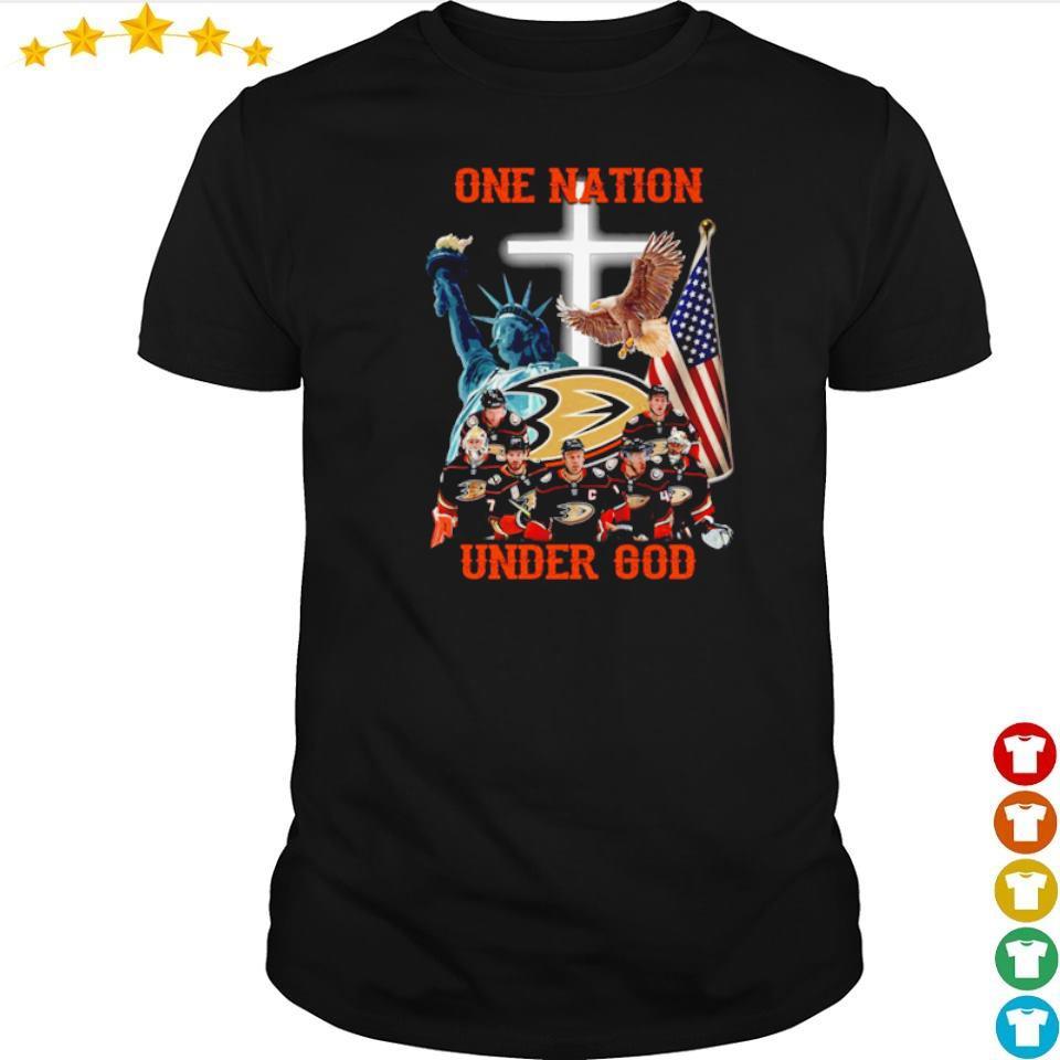 Anaheim Ducks one nation under God American Flag shirt