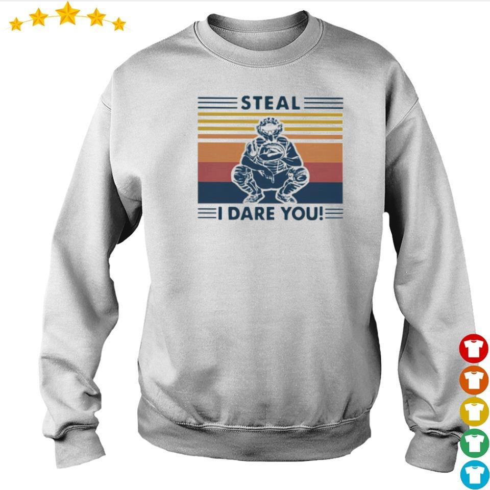 Baseball catcher steal I dare you vintage s sweater