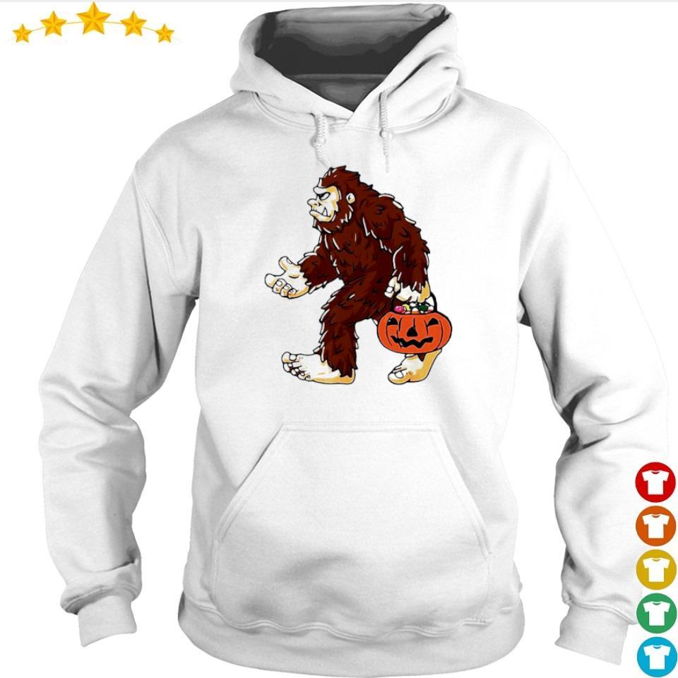 Bigfoot holding pumpkin trick or treat Halloween s hoodie