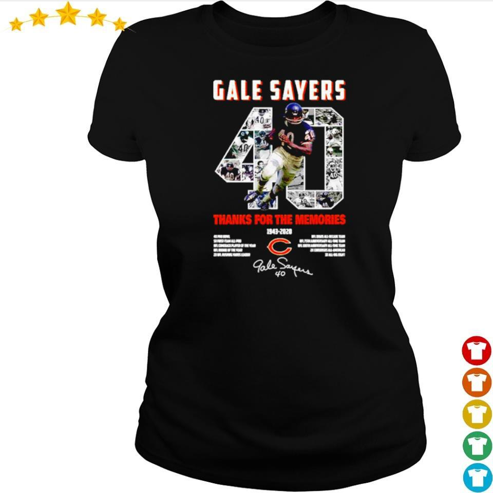 Gale Sayers 40 thank you for the memories 1943 2020 signature s ladies tee