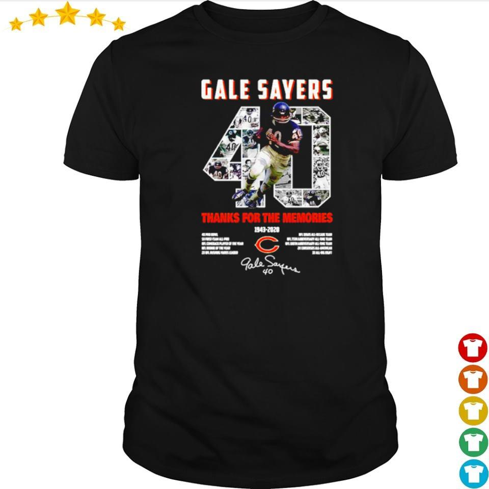 Gale Sayers 40 thank you for the memories 1943 2020 signature shirt