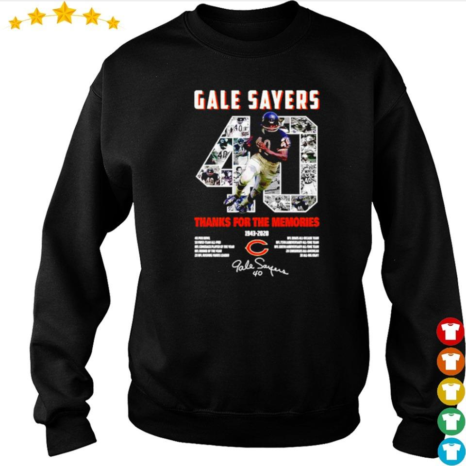 Gale Sayers 40 thank you for the memories 1943 2020 signature s sweater