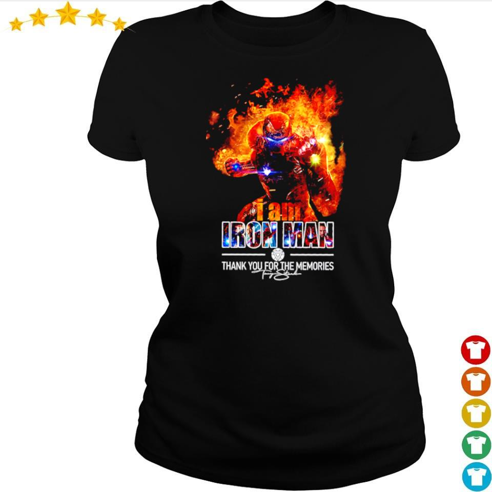 I am Iron Man thank you for the memories signature s ladies tee