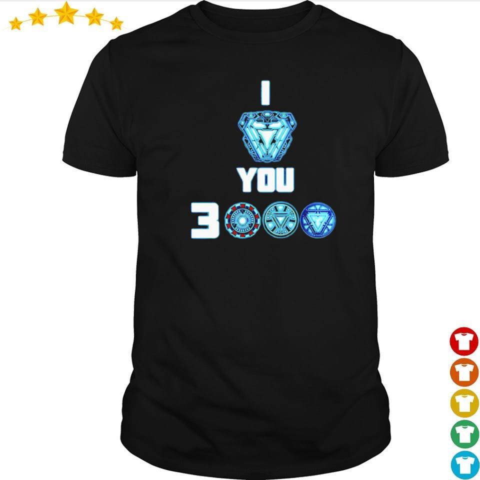 Iron Man arc reactor I love you 3000 shirt