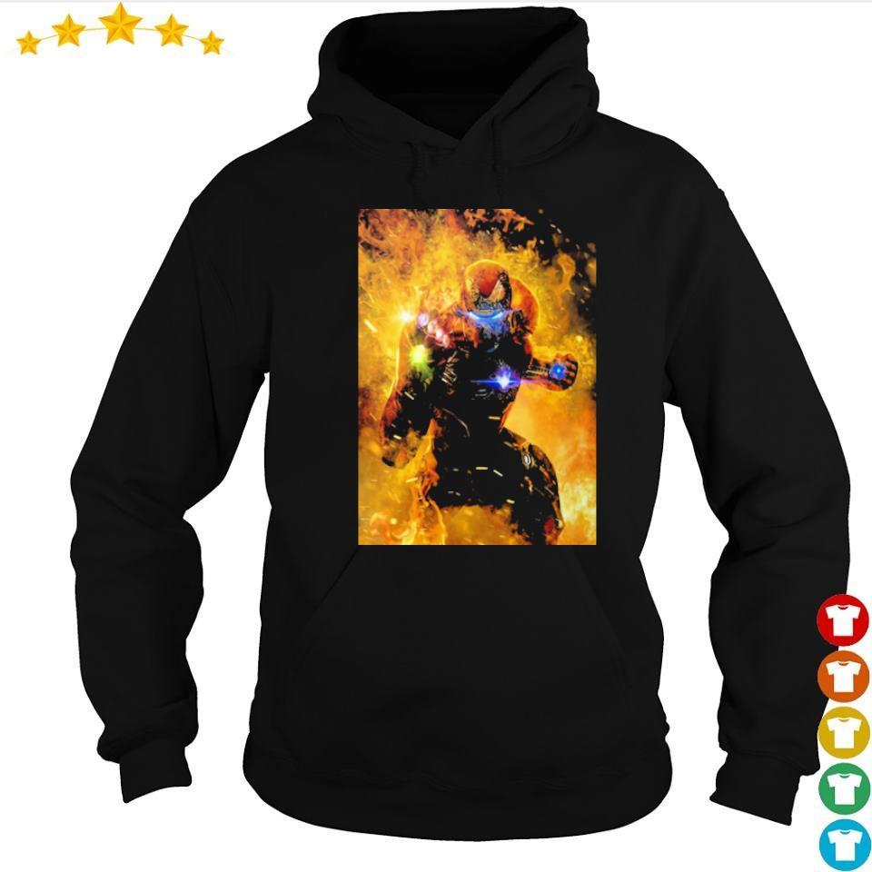 Iron Man wearing infinity gauntlet in fire s hoodie