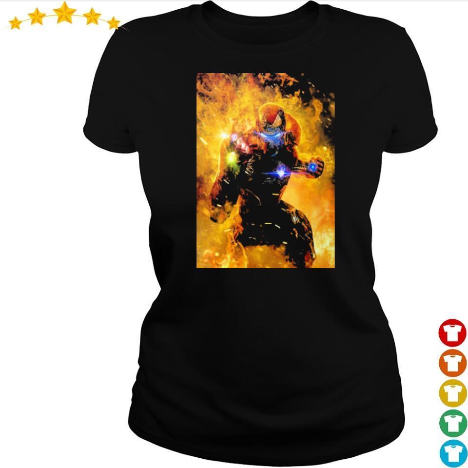 Iron Man wearing infinity gauntlet in fire s ladies tee