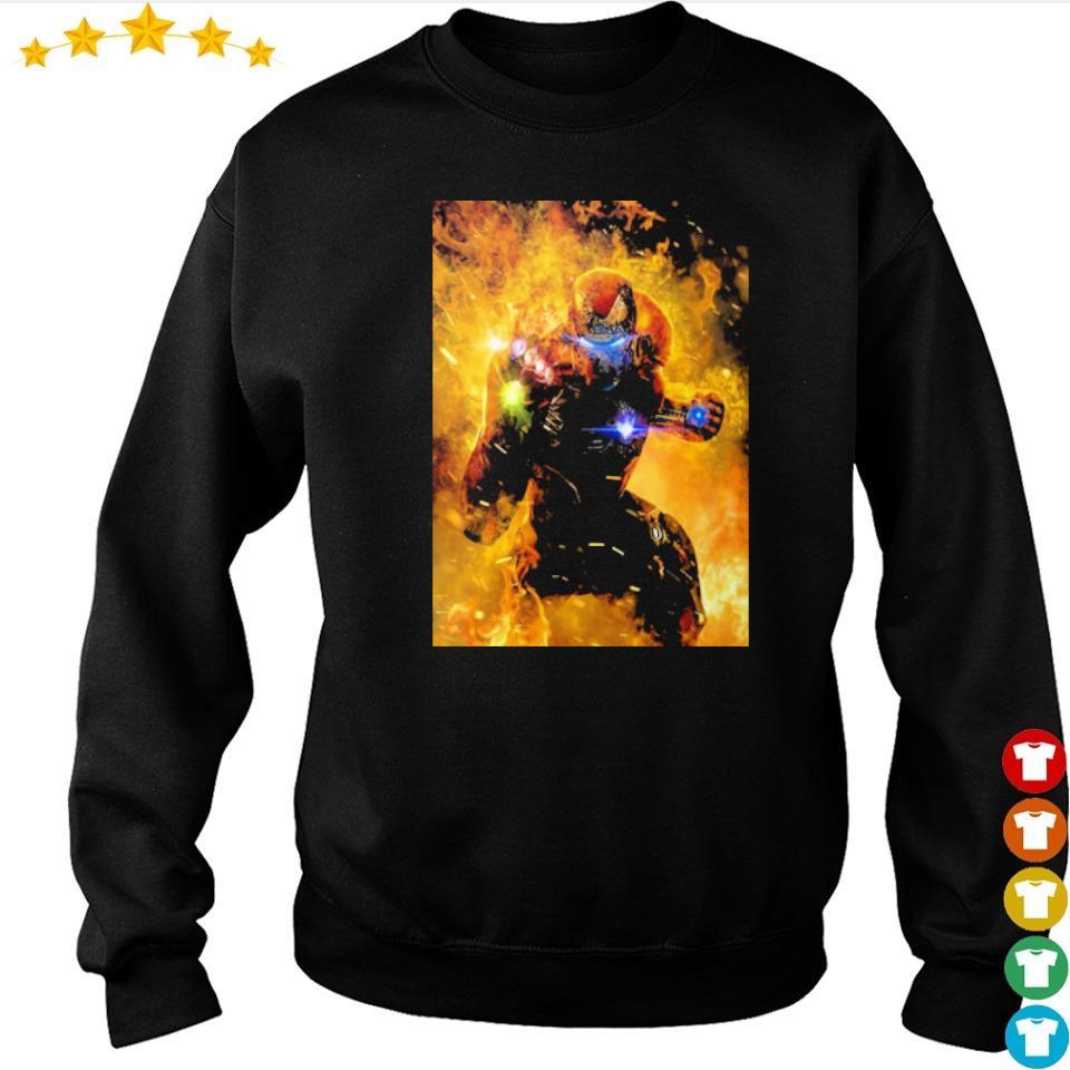Iron Man wearing infinity gauntlet in fire s sweater