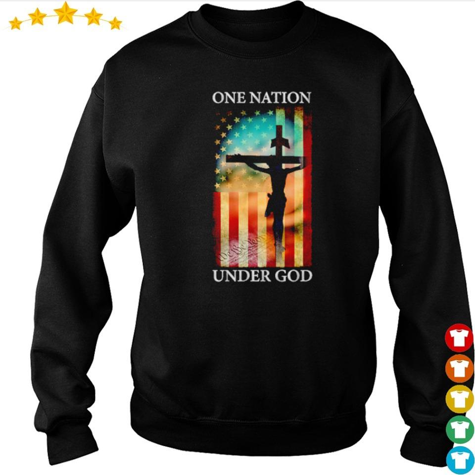 Jesus cross American Flag one nation under God s sweater