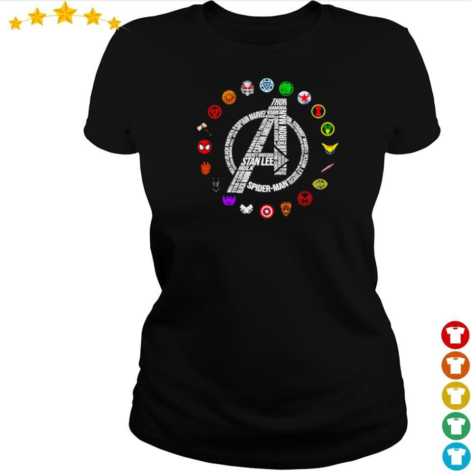 Marvel Studio Avengers RIP Stan Lee and all characters symbol s ladies tee