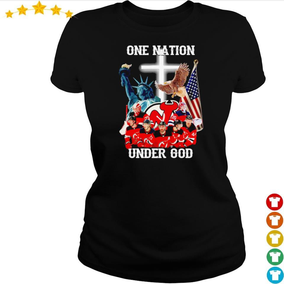 New Jersey Devils one nation under God American Flag s ladies tee