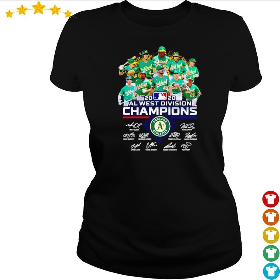 Oakland Athletics 2020 AL west division champions signatures s ladies tee