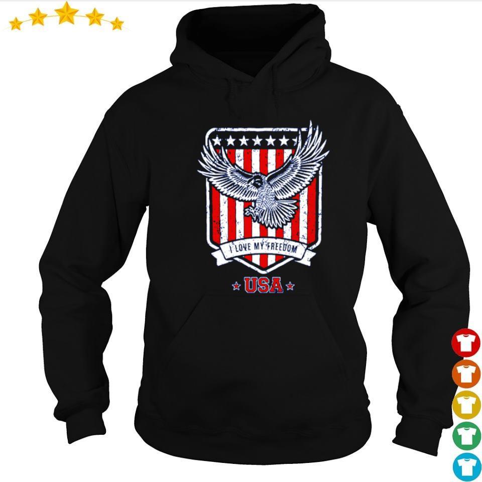 American Flag Eagle I love freedom USA s hoodie