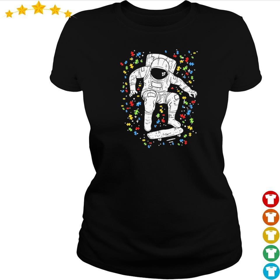 Autism awareness astronaut skateboard s ladies tee