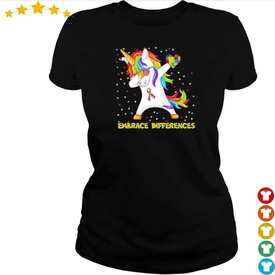 Autism awareness unicorn dabbing embrace differences s ladies tee