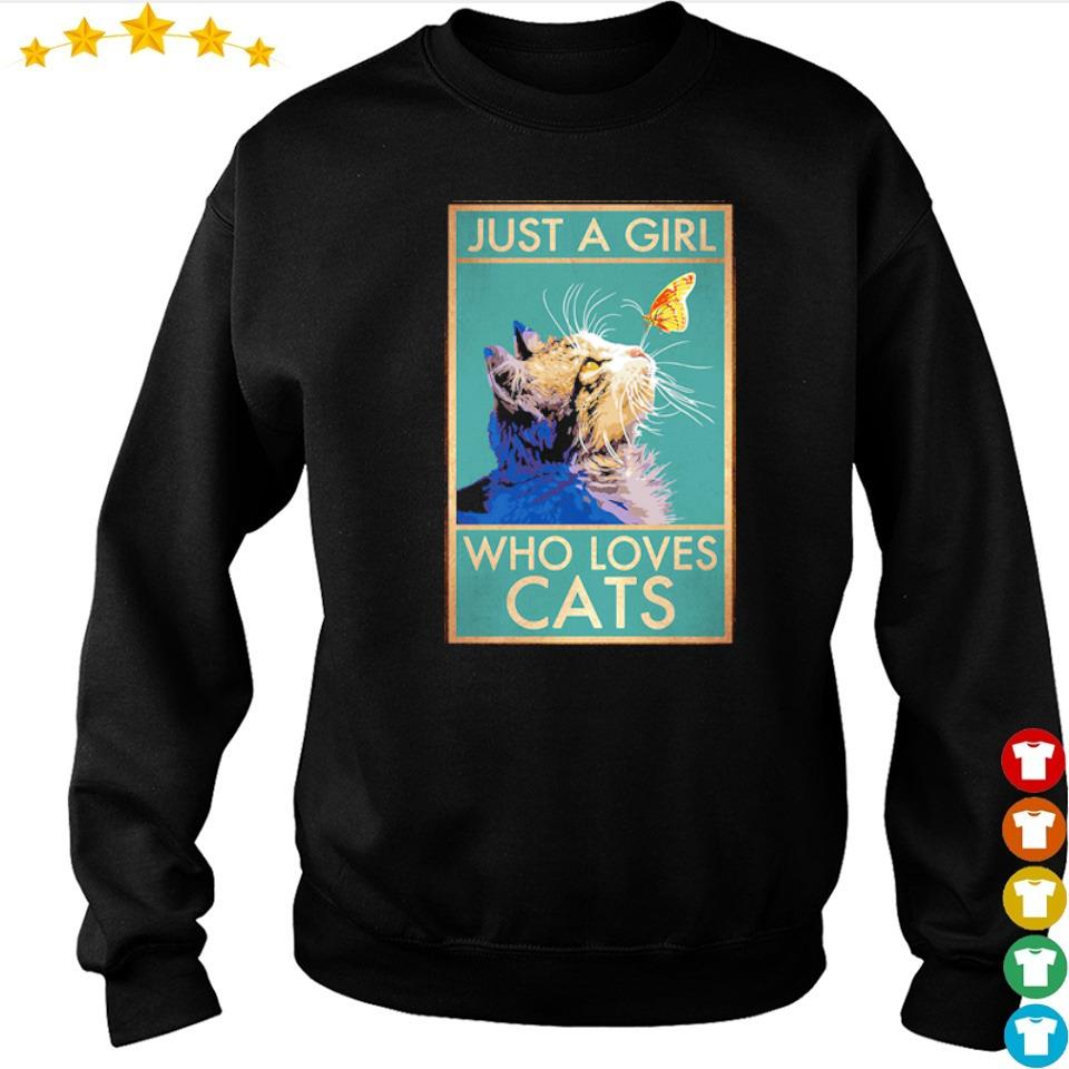 Cat and butterfly just a girl who loves cats s sweater