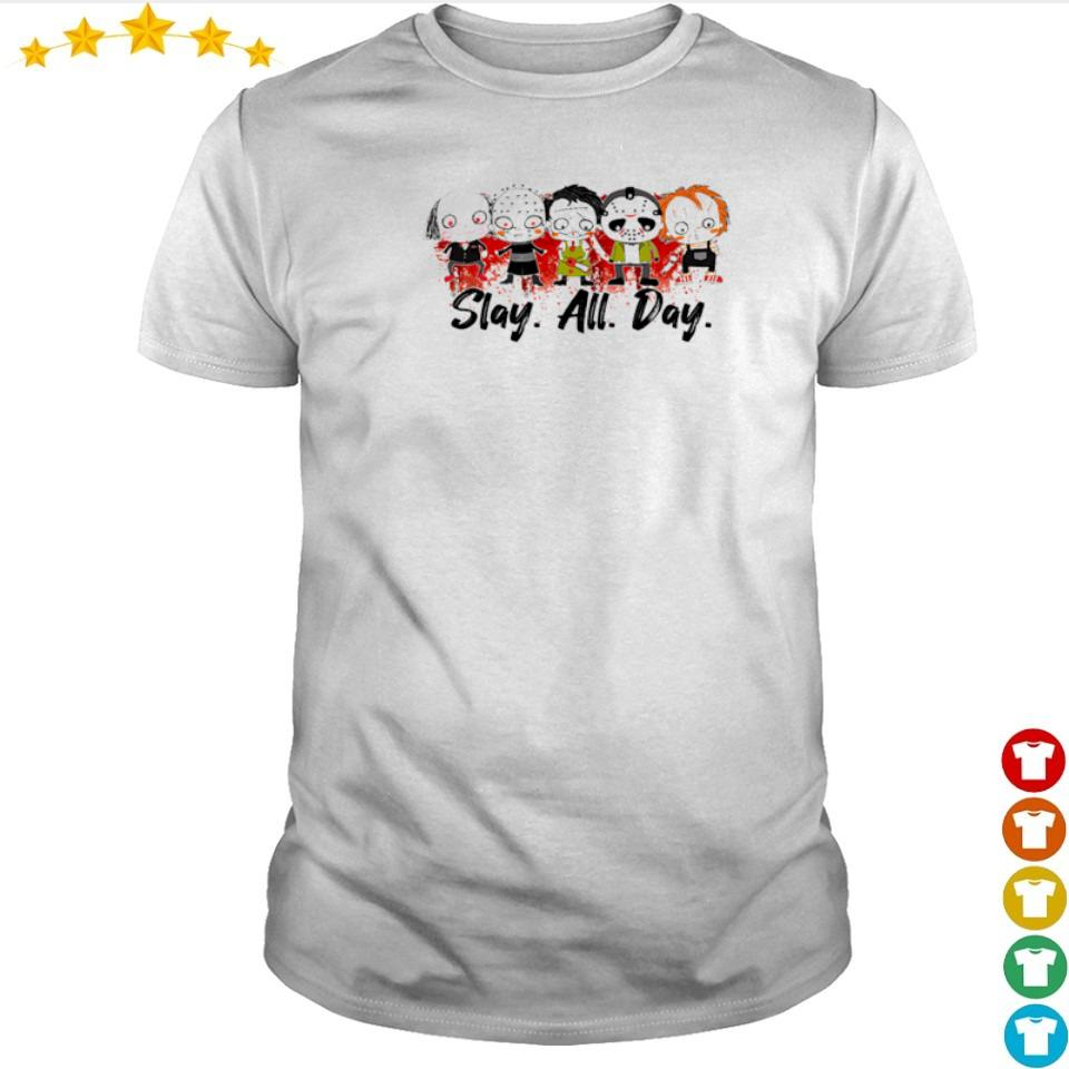 Chibi cute horror characters slay all day shirt