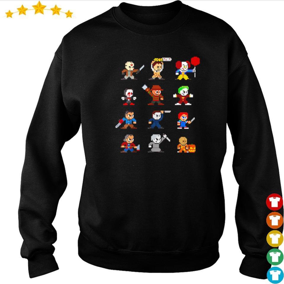 Pixel chibi horror characters happy Halloween s sweater