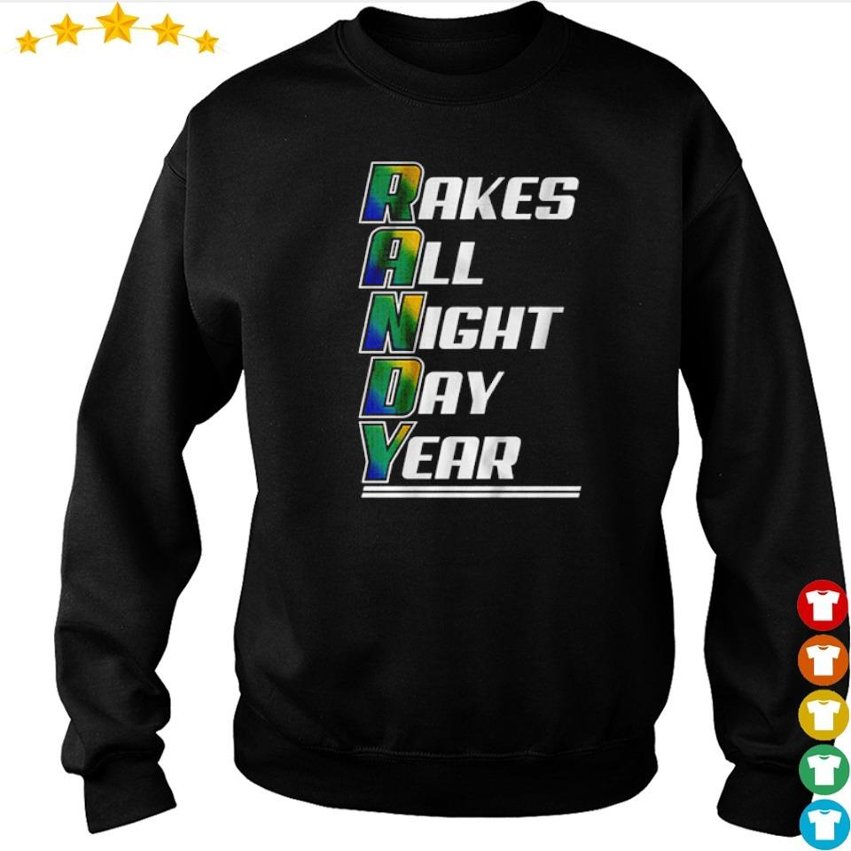 Randy rakes all night day year s sweater