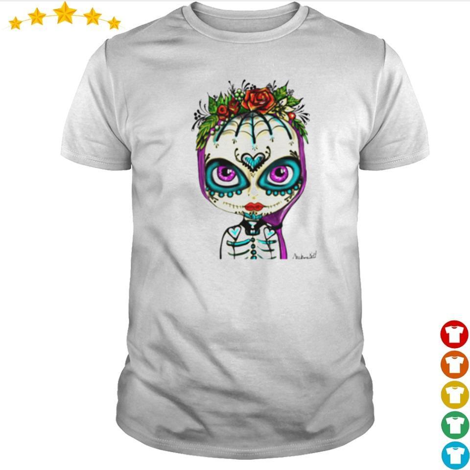 Skull rose girl day of the dead muertos shirt
