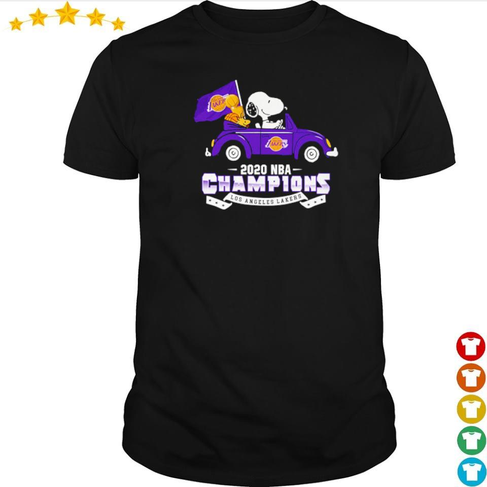 Snoopy riding 2020 NBA champions Los Angeles Lakers shirt