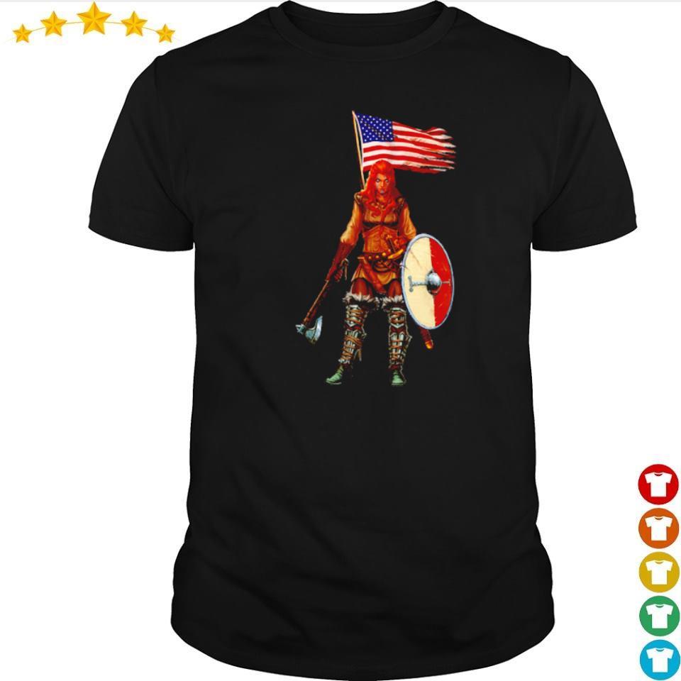 Viking valhalla lady American Flag shirt