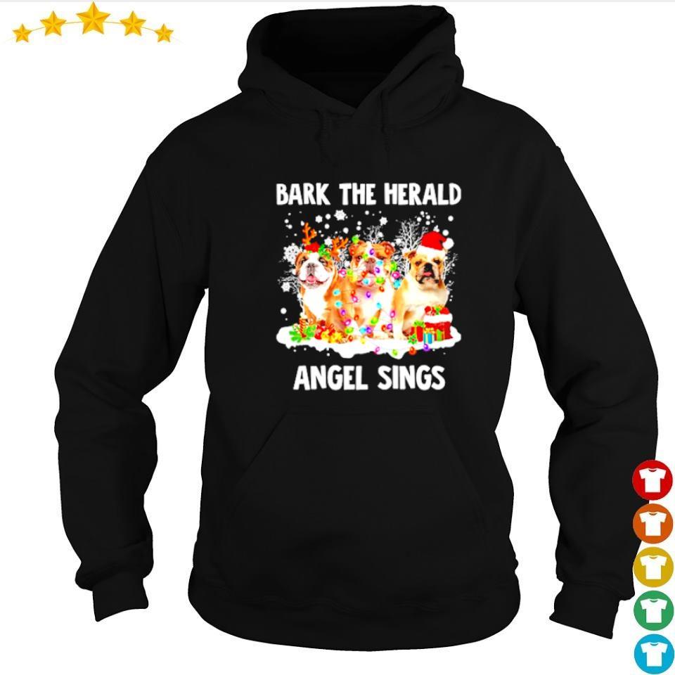 English Bulldog bark the herald angel sings merry Christmas sweater hoodie