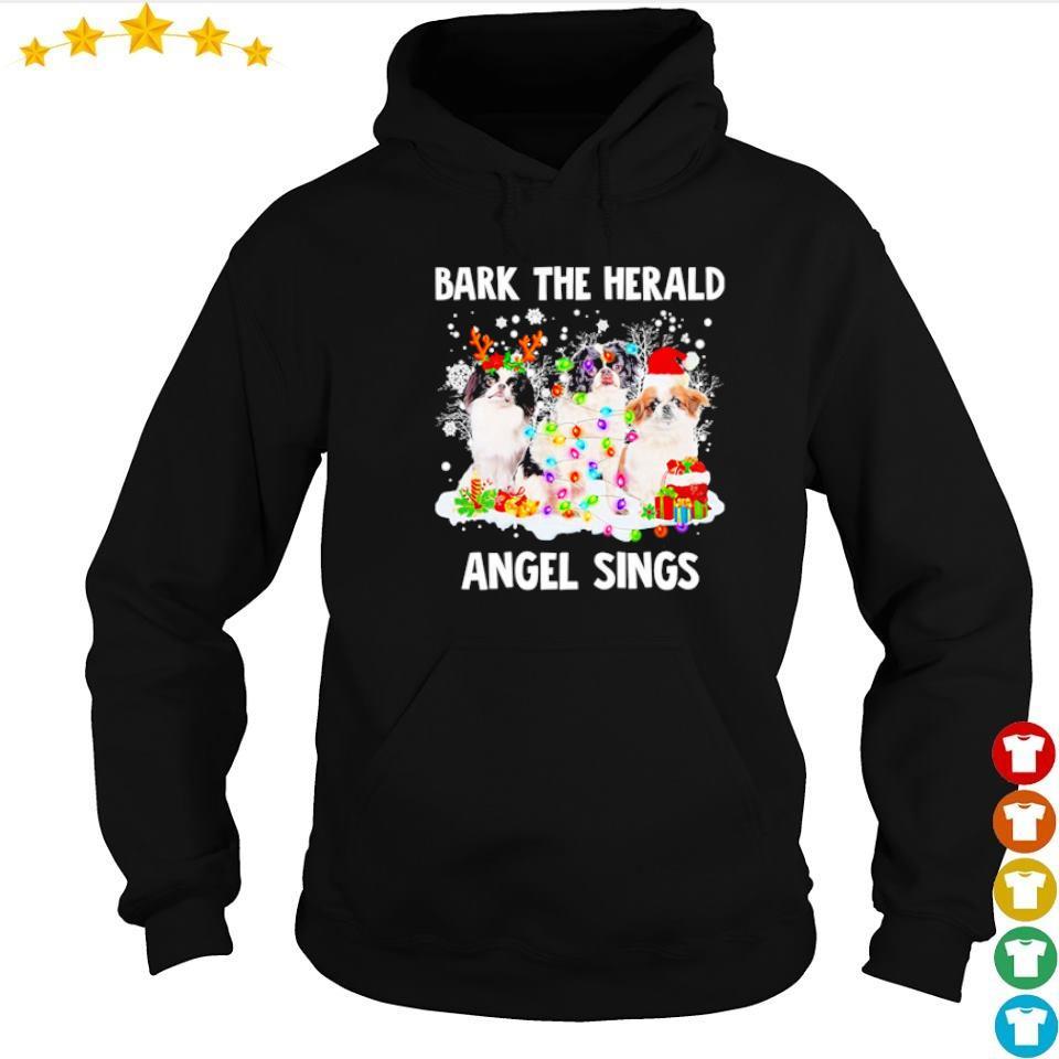 Japanese Chin bark the herald angel sings Christmas sweater hoodie