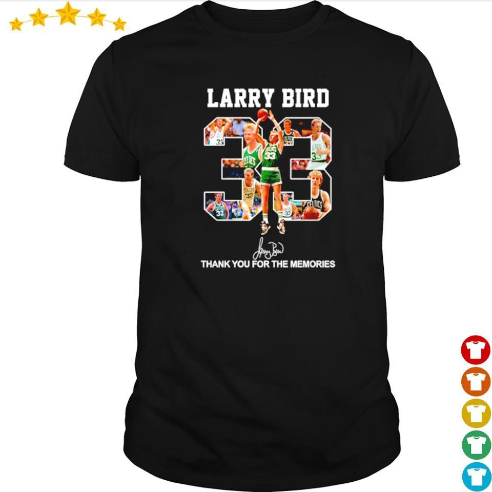 Larry Bird number 33 signature thank you for the memories shirt