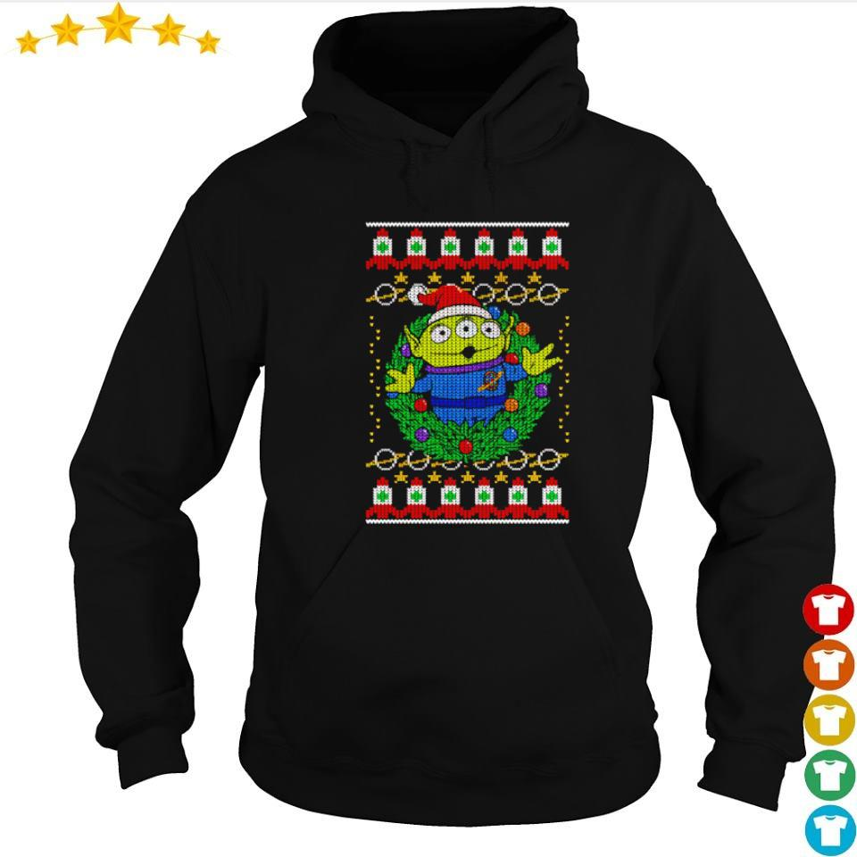 Toy Story alien wreath merry Christmas sweater hoodie