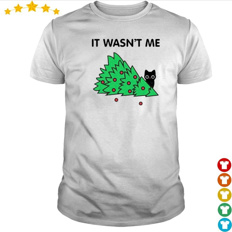 Cat pine tree It wasn't me merry Christmas sweater