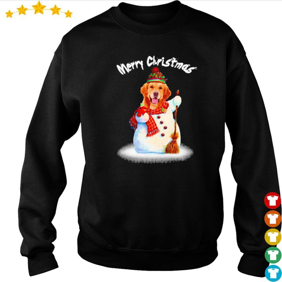 Golden Retriever snowman merry Christmas sweater