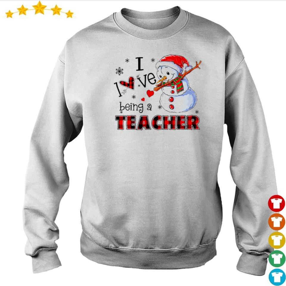 Snowman dabbing I love being a teacher Christmas sweater