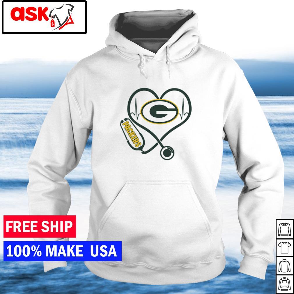 Nurse love Green Bay Packers heartbeat s hoodie