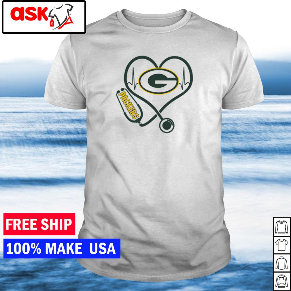 Nurse love Green Bay Packers heartbeat shirt